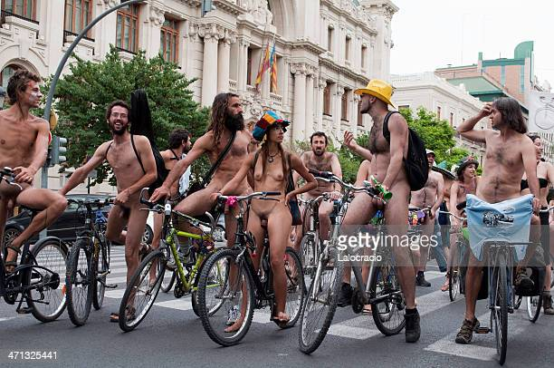 nudist bike rally - naturism stock photos and pictures