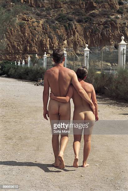 Nudist couple in the nudist camping of ´El Portus´ Cartagena