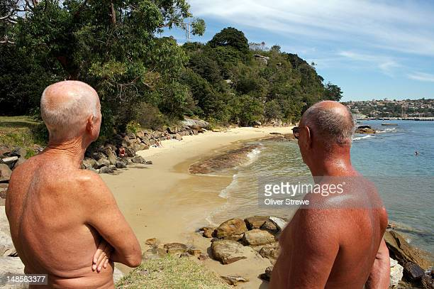 nudists at cobblers beach, mosman. - old nudists stock pictures, royalty-free photos & images