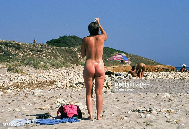 Nudists on the beaches of Menorca Balearic Islands Spain