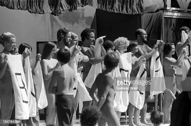 Nudists perform play 'Barely Proper' Assonet Massachusetts 1973
