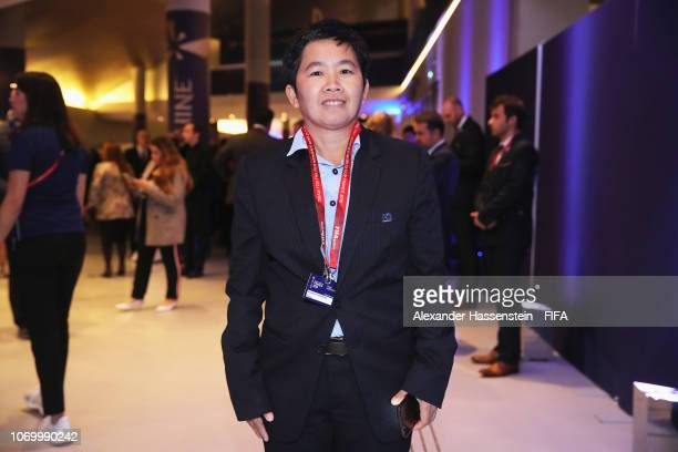 Nuengruethai Sathongwien coach of Thailand arrives for the FIFA Women's World Cup France 2019 Draw at La Seine Musicale on December 8 2018 in Paris...