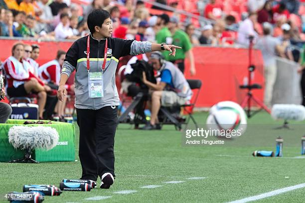 Nuengruethai Sathongwien looks gestures from the sidelines during the FIFA Women's World Cup Canada 2015 Group B match between Cote d'Ivoire and...