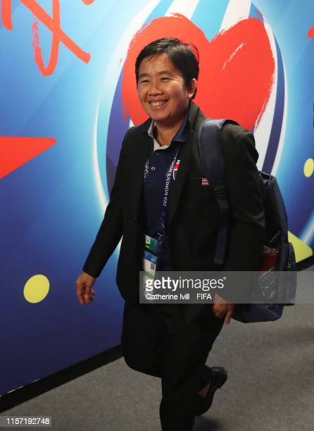 Nuengrutai Srathongvian Head Coach of Thailand arrives prior to during the 2019 FIFA Women's World Cup France group F match between Thailand and...