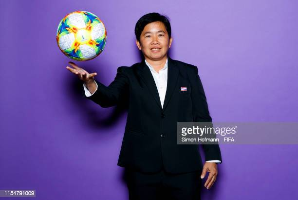 Nuengrutai Srathongvian Head Coach of Thailand poses for a portrait during the official FIFA Women's World Cup 2019 portrait session at Grand Hotel...
