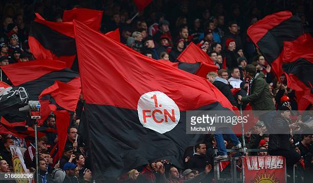 Nuernberg fans are seen during the Second Bundesliga match between 1 FC Nuernberg and RB Leipzig at GrundigStadion on March 20 2016 in Nuremberg...