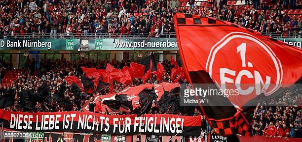 Nuernberg fans show a banner during the Second Bundesliga match between 1 FC Nuernberg and 1 FC Heidenheim 1846 at Arena Nuernberg on August 12 2016...
