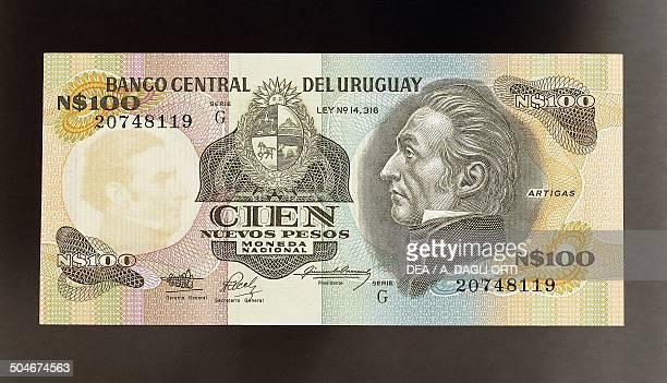 100 nuevos pesos banknote 19801989 obverse Jose Gervasio Artigas Uruguay 20th century