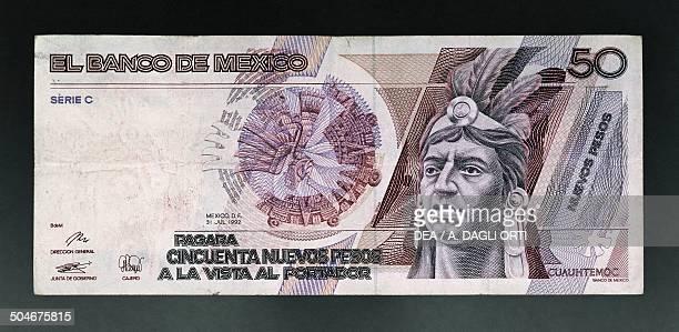 50 nuevos pesos banknote obverse Cuauhtemoc Mexico 20th century