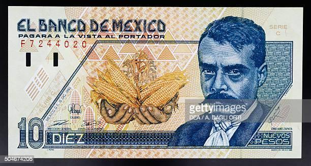 Nuevos pesos banknote obverse, Emiliano Zapata . Mexico, 20th century.