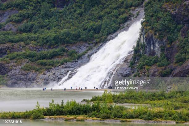 Nugget Falls Cascade, elevated view from Mendenhall Glacier Visitor Centre, Tongass National Forest, Juneau, Alaska, United States of America, North America