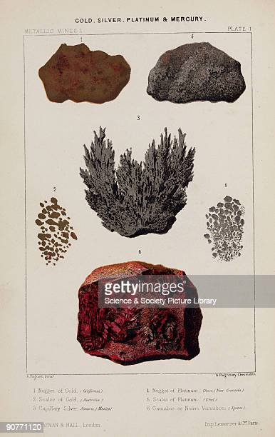 Nugget of gold California scales of gold Australia capillary silver Sonora Mexico nugget of platinum Choco Colombia scales of platinum Ural cinnabar...