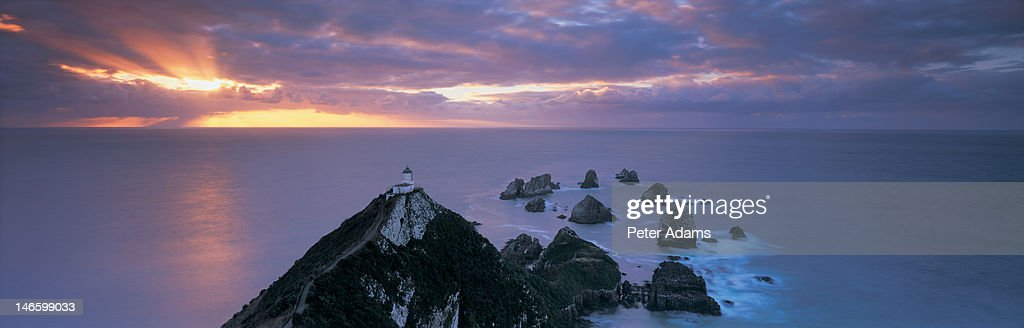 Nugget Point Lighthouse, Catlins, New Zealand : Stock Photo