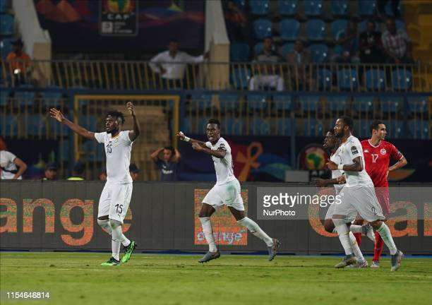 Nuhu Adams Kasim of Ghana celebrating Ghanas goal to 1-1 during the 2019 African Cup of Nations match between Ghana and Tunisia at the Ismailia...