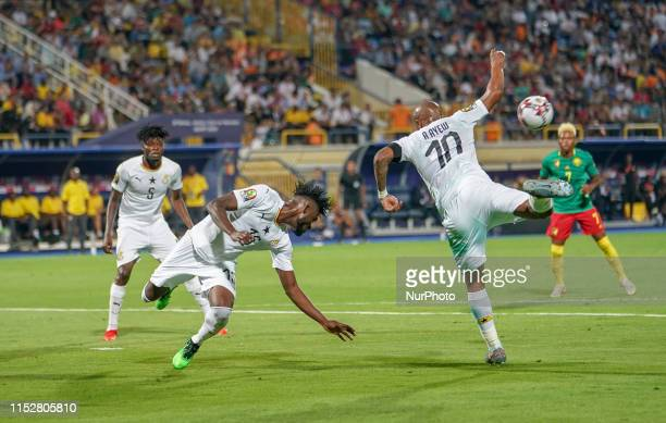 Nuhu Adams Kasim of Ghana heads the ball away during the 2019 African Cup of Nations match between Cameroon and Ghana at the Ismailia stadium in...