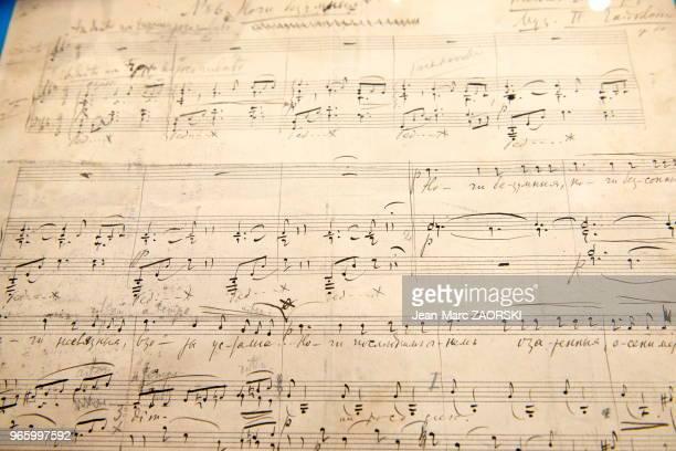 Nuit de folie' de Piotr Tchaïkovski partition autographe appartenant à la fondation Martin Bodmer de Genève exposée au Salon du Livre et de la Presse...