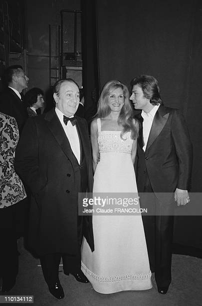 'Nuit du cinema' in ParisFrance on December 13th1973 Tino Rossi Dalida and the Count of St Germain