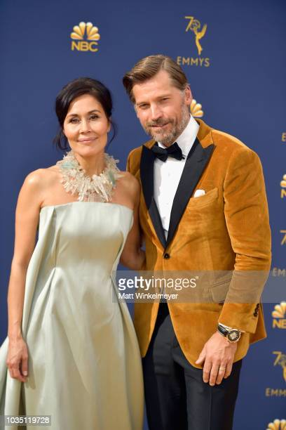 Nukaaka Coster-Waldau and Nikolaj Coster-Waldau attend the 70th Emmy Awards at Microsoft Theater on September 17, 2018 in Los Angeles, California.