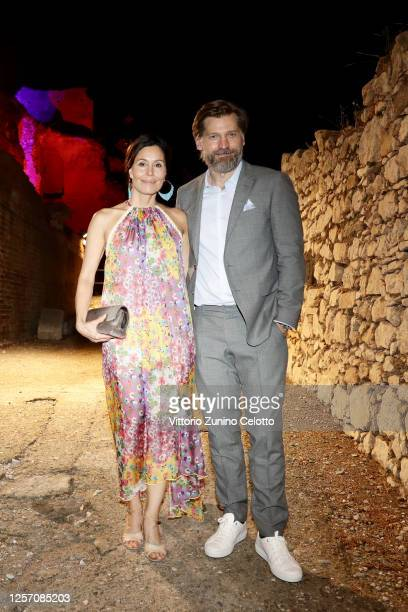 Nukaaka Coster-Waldau and Nikolaj Coster-Waldau attend the red carpet of the closing night of the Taormina Film Festival on July 19, 2020 in...