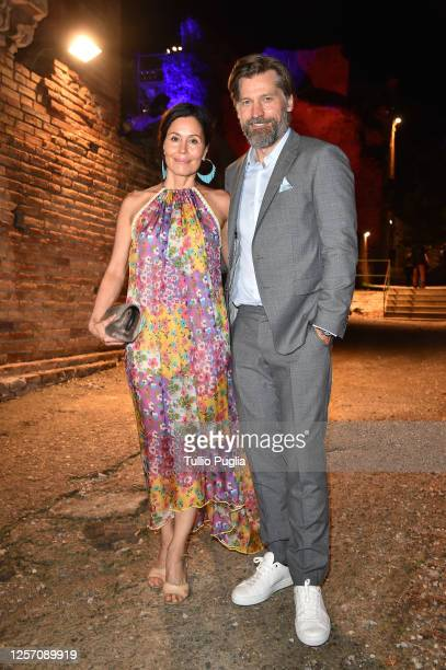 Nukaaka CosterWaldau and Nikolaj CosterWaldau attend the red carpet of the closing night of the Taormina Film Festival on July 19 2020 in Taormina...
