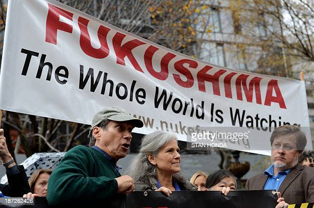 NukeFreeorg Executive Director Harvey Wasserman and Margaret Flowers speak at a rally calling for United Nations oversight of the cleanup of the...
