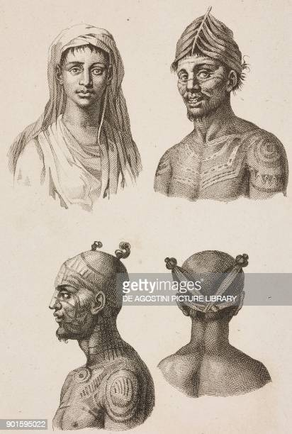 Nuku Hiva's men and women portraits Marquesas Islands Polynesia engraving by Danvin and Delaistre from Oceanie ou Cinquieme partie du Monde Revue...