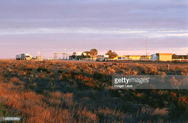 Nullarbor Roadhouse at sunrise, Eyre Highway.