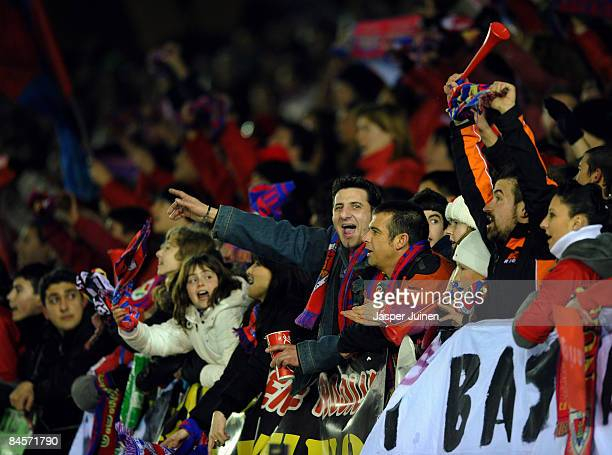Numancia fans cheer for their team during the La Liga match between Numancia and Real Madrid at the Los Pajaritos Stadium on January 31, 2009 in...
