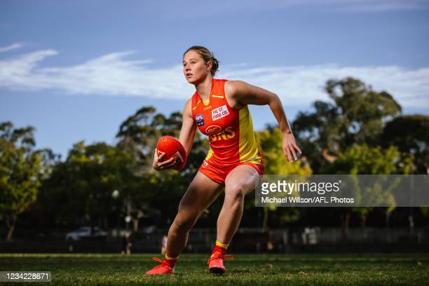 Number 1 AFLW draft pick for 2021, Charlie Rowbottom of the Oakleigh Chargers poses for a photograph in her Gold Coast Suns uniform at Glenferrie...
