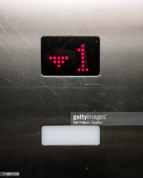 Number 1 Display On Control Panel Of Elevator