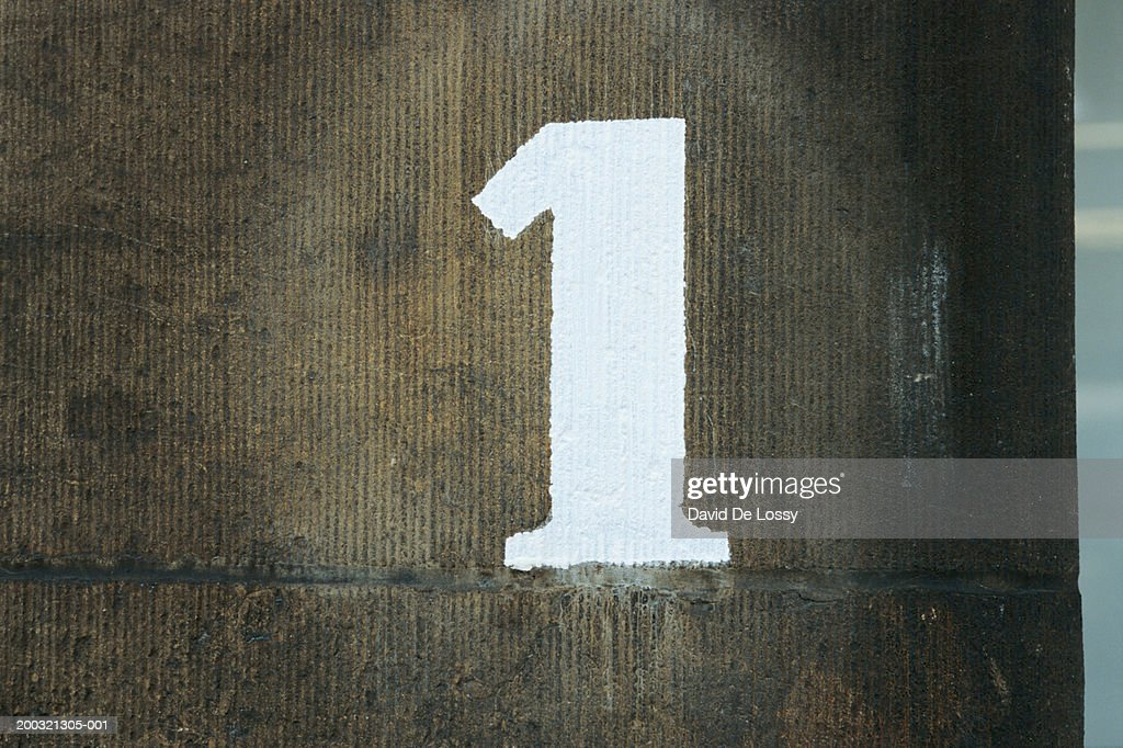 """""""Number 1"""" painted on wall : Stock Photo"""