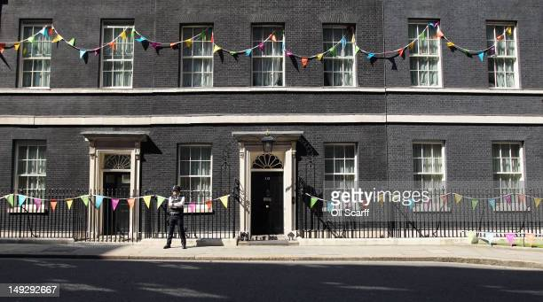 Number 10 Downing Street is bedecked in bunting to celebrate the London 2012 Olympic Games on July 26, 2012 in London, England. The Olympic flame is...