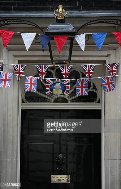 Number 10 Downing Street is decorated for the Diamond Jubilee weekend on June 1 2012 in London England With two days to go before the start of...