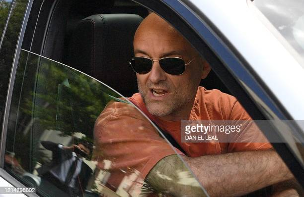Number 10 Downing Street special advisor Dominic Cummings drives away from his home in London on May 23 2020 after allegations he broke coronavirus...