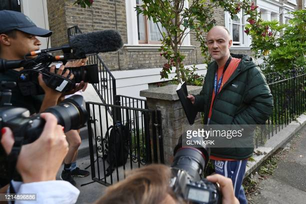 Number 10 Downing Street special advisor Dominic Cummings returns to his home in London on May 24 2020 following allegations he broke coronavirus...