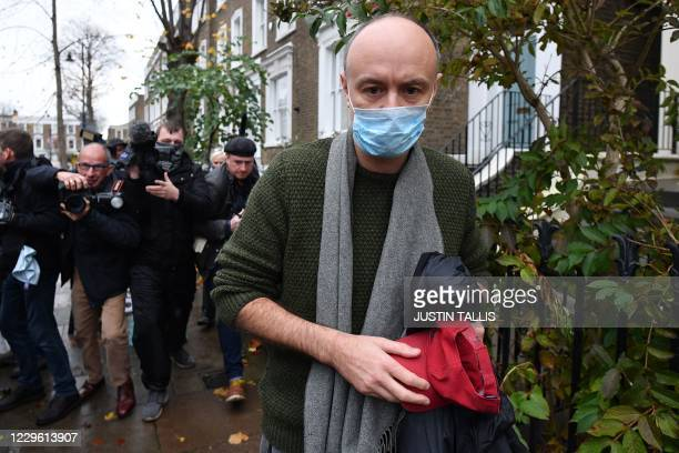 Number 10 special advisor Dominic Cummings leaves his residence in London on November 14, 2020. - Dominic Cummings, the controversial brains behind...