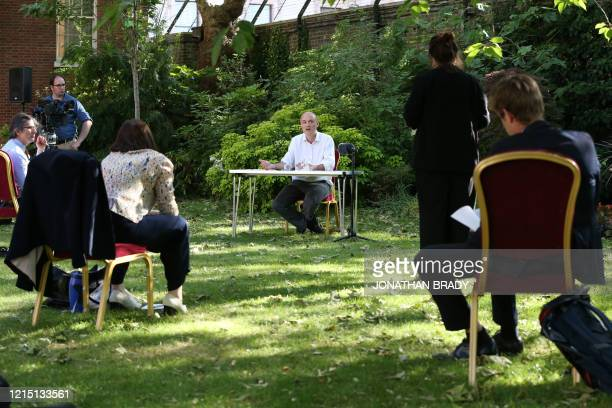 Number 10 special advisor Dominic Cummings speaks during a press conference with journalists sat at a distance in the Rose Garden at 10 Downing...
