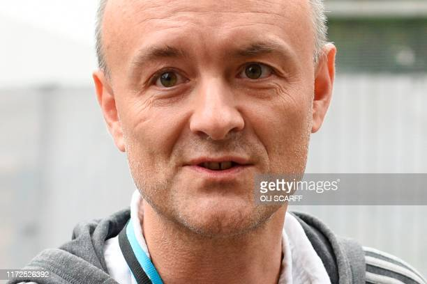 Number 10 special advisor Dominic Cummings speaks to the media as he attends the second day of the annual Conservative Party conference at the...