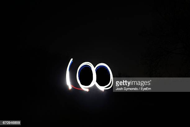 Number 100 Made By Light Painting At Night