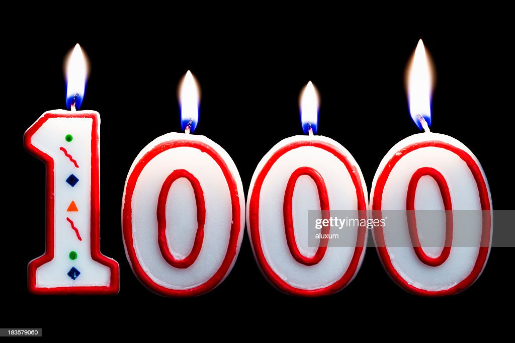 number 1000 birthday candle : Stock Photo