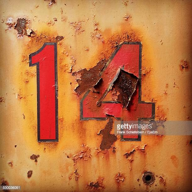 number 14 graffiti on wall - number 14 stock photos and pictures