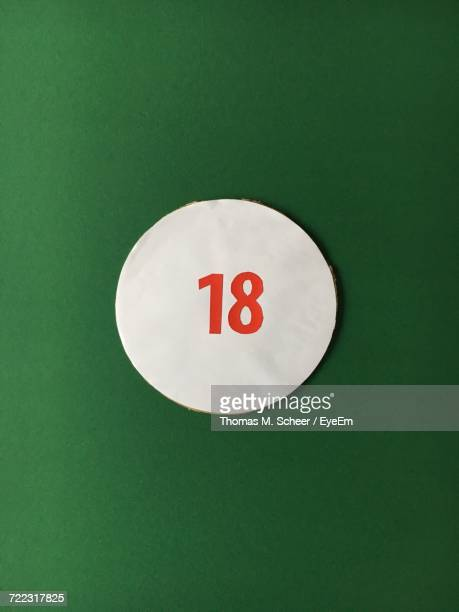 Number 18 On White Circle Against Green Background