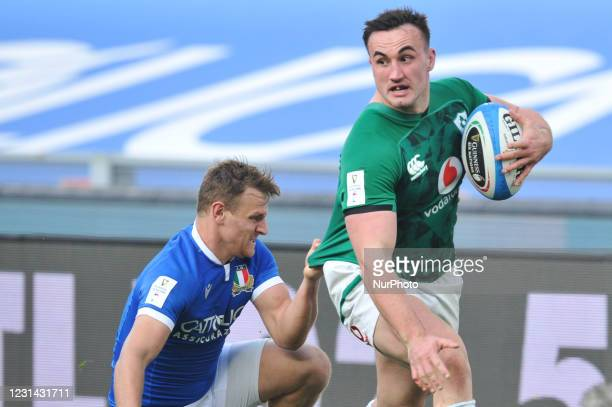 Number 2 of Ireland Ronan Kelleher in action during the 2021 Guinness Six Nations Rugby Championship match between Italy and Ireland at the Olimpic...