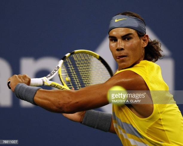 Number 2 seed Rafael Nadal from Spain against number 15 seed and compatriot David Ferrer during their 4th round US Open match at the USTA National...