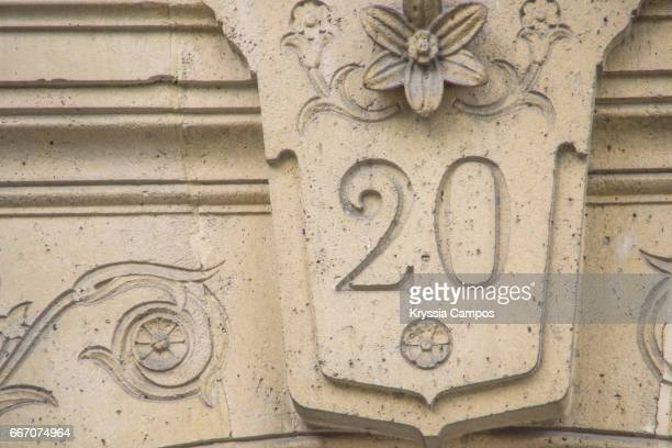 number 20 carved in wall - number 20 stock pictures, royalty-free photos & images