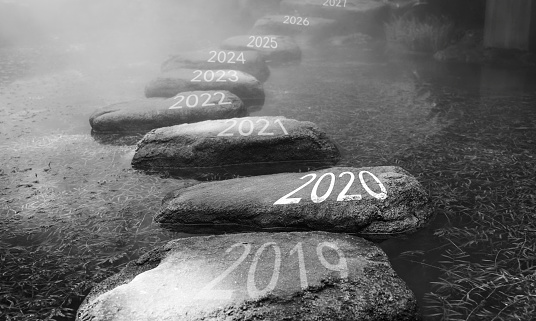 Number 2019, 2020, 2021 on stepping stones 1150189667