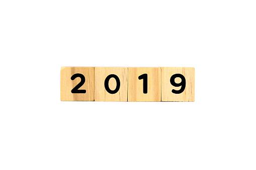 Number 2019 on Wooden Blocks on White Background - gettyimageskorea