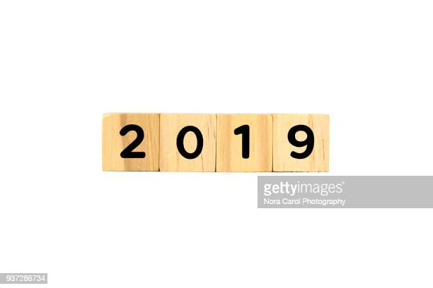 number 2019 on wooden blocks on white background - 2019 foto e immagini stock