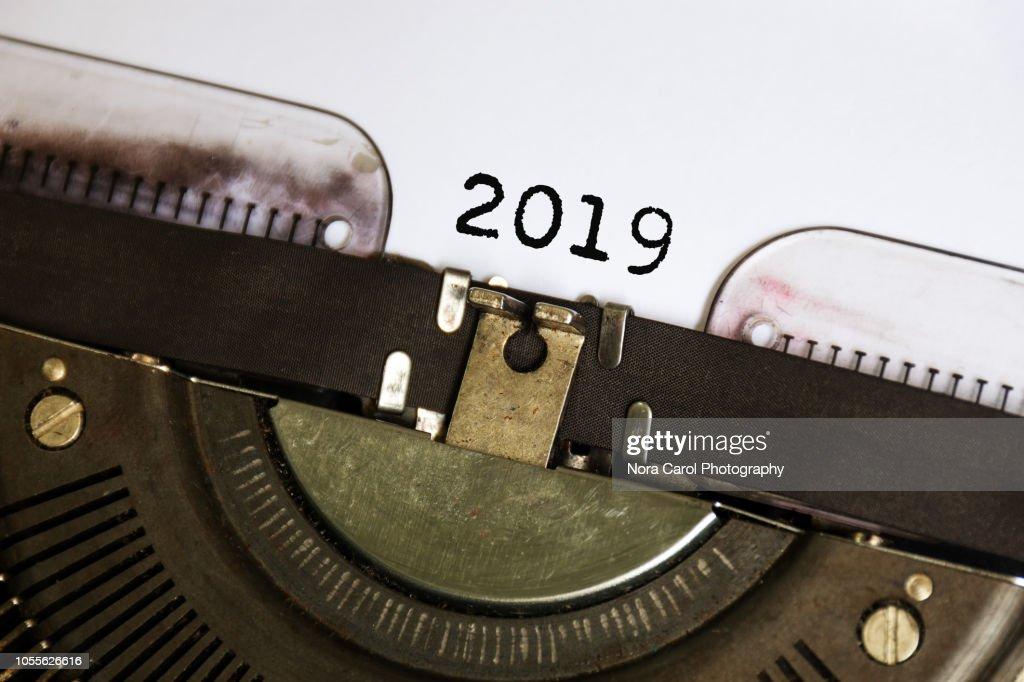 Number 2019 Typed on Vintage Typwriter : Stock Photo