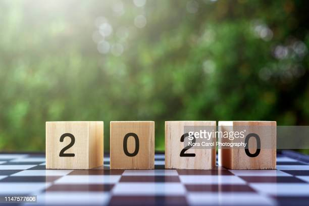 number 2020 on wooden blocks - new year concepts - 2020年 ストックフォトと画像
